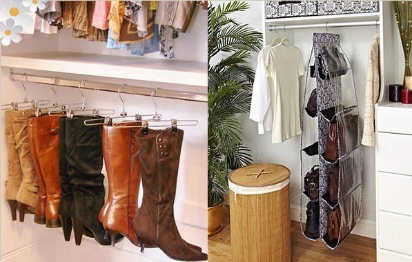 organizar guarda roupa botas e bolsas
